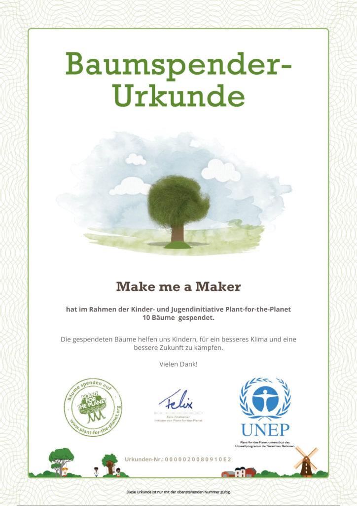 Baumspenden Zertifikat für 2018