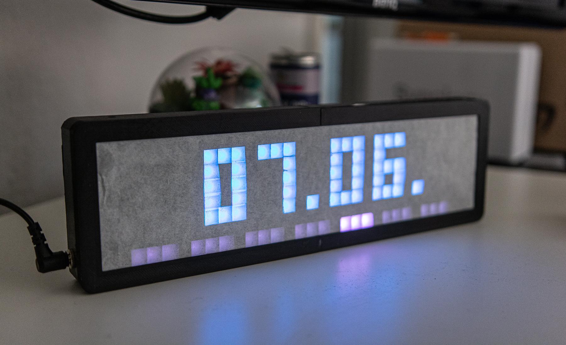 3D gedruckte Uhr mit Led Matrix